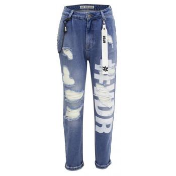 Jeansové kalhoty s nápisem